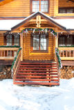 Porch Christmas wooden mansion Stock Photography