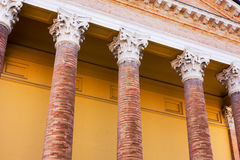 Porch with columns. Antique porch with columns at the entrance of the cathedral  Forli - Italy Stock Photos