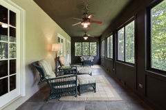 Porch with dark wood paneling Royalty Free Stock Images