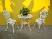 Porch decorate yellow wall Stock Image