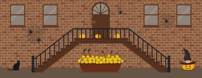 Porch, decorated for Halloween vector illustration
