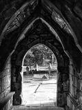 Porch and door of old ruined church in heptonstall. In west yorkshire with old graveyard Stock Images