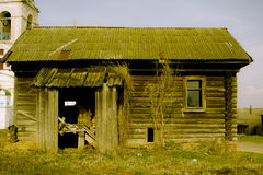 Porch of the empty wooden house in Russian village Stock Image