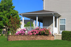 Porch with Flowerbed Stock Photos