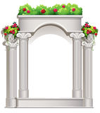 A porch with flowering plants. Illustration of a porch with flowering plants on a white background Stock Photo