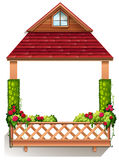 A porch with flowering plants. Illustration of a porch with flowering plants on a white background Royalty Free Stock Photo