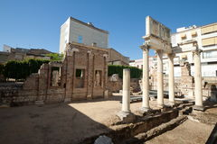 Porch of the Forum. Merida is the capital of the autonomous community of Extremadura, western central Spain. The Archaeological Ensemble of Merida has been a Royalty Free Stock Image