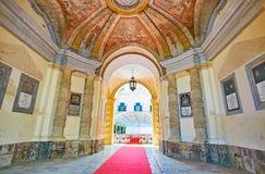 The porch of Grandmaster`s Palace, Valletta, Malta. VALLETTA, MALTA - JUNE 17, 2018 Royalty Free Stock Photos