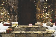 Porch house decorated for winter Christmas holidays Stock Photography