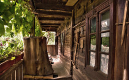 Porch of a house in the village. Porch of a old romanian old romanian in the village Stock Image