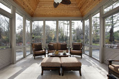 Porch in luxury home stock image