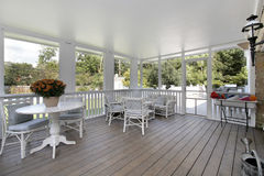 Porch in luxury home. With view to pool Royalty Free Stock Image