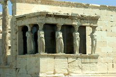 Porch of Maidens. The porch of Maidens of the Erechtheum, located at the Acropolis of Athens Royalty Free Stock Images