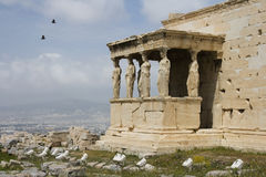 The Porch of Maidens atop Acropolis Royalty Free Stock Photography