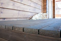 The porch of a new wooden house. stock photos