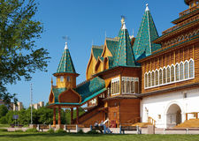 Porch of the palace of tzar Aleksey Mikhailovich. Front porch of the wooden palace of tzar Aleksey Mikhailovich in Kolomenskoe, Moscow, Russia Stock Photo