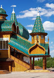 Porch of the palace of tzar Aleksey Mikhailovich. Front porch of the wooden palace of tzar Aleksey Mikhailovich in Kolomenskoe, Moscow, Russia Royalty Free Stock Photography