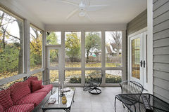 Porch with patio view. S during the fall Stock Photo