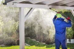 Porch Roof Power Cleaning stock photo
