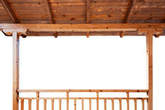 Porch roof and railings from inside. Porch roof and railings made of wood isolated on white background Royalty Free Stock Images