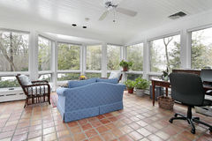 Porch with Spanish tile Stock Photos