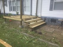 Porch and stairs being constructed. Wood porch and stairs being constructed on a mobile home Stock Photography