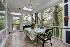 Porch in suburban home. With tile floor stock images