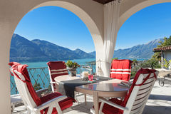 Porch with table and chairs. Architecture, nice porch with table and chairs, lake view Royalty Free Stock Photography