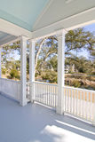 Porch with view. Porch overlooking view of pond and neighborhood royalty free stock image