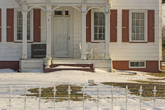 Porch on Vintage American Home In Winter Royalty Free Stock Photography