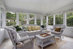 Porch with wicker furniture stock images