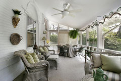 Porch with wicker furniture Royalty Free Stock Images