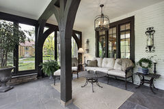 Porch with wood beams. And stone flooring Stock Photos