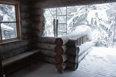 Porch of wooden house Stock Image