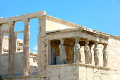 Porch of world famous Caryatids in Erechtheion on Acropolis Hill royalty free stock image