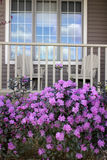 Porche avec des rhododendrons photographie stock libre de droits