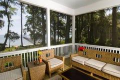 Porche avec la vue de plage Photographie stock
