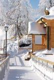 Porche d'une maison en bois Photo libre de droits
