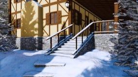 Porche de maison rurale à colombage au jour d'hiver illustration de vecteur