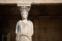 Porche des cariatides, Athènes image libre de droits