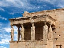 Porche des cariatides au temple grec antique célèbre d'Erechtheion à Athènes, Grèce photographie stock