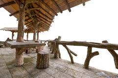 Porche en bois d'isolement photographie stock libre de droits