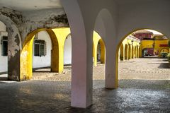 Porches and arcades in the fishing neighborhood Stock Photography