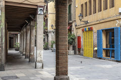 Porches in street of El Born quarter of Barcelona. Royalty Free Stock Photo