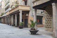 Porches in street of El Born quarter of Barcelona. Stock Image