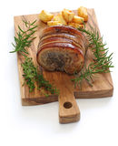 Porchetta, italian roast pork Stock Photos
