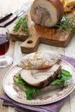 Porchetta panini, italian roast pork sandwich Stock Photography