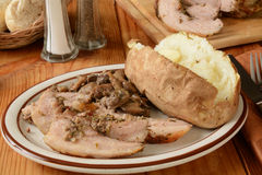 Porchetta pork roast and potato Royalty Free Stock Photography