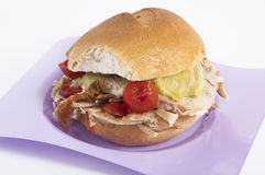 Porchetta sandwich with lettuce and tomatoes Royalty Free Stock Photography