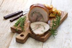 Porchetta, włoska pieczona wieprzowina Obraz Royalty Free